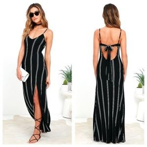 Lulu's One For The Road Black Striped Maxi Dress.